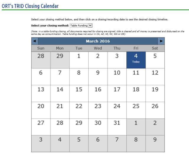 ORT TRID Closing Calendar