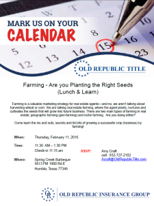 Farming Lunch and Learn