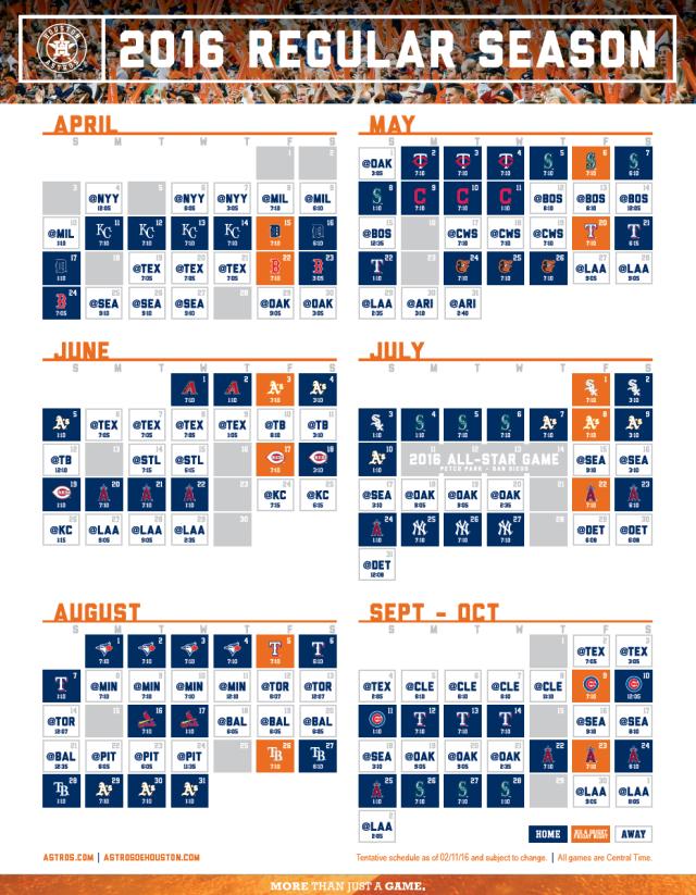 2016 Astros Schedule
